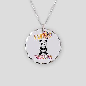 I Love Pandas Necklace Circle Charm