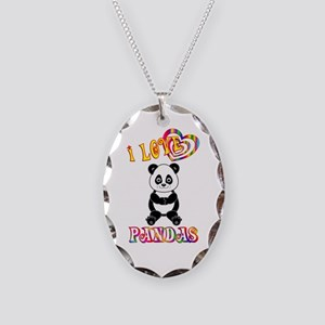 I Love Pandas Necklace Oval Charm