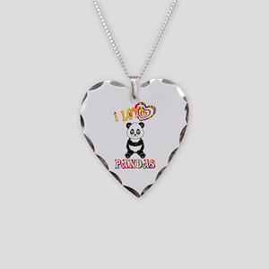 I Love Pandas Necklace Heart Charm