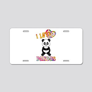 I Love Pandas Aluminum License Plate