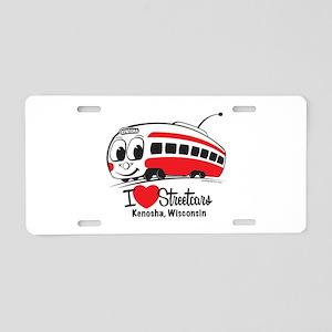 I Love Streetcars Kenosha Aluminum License Plate