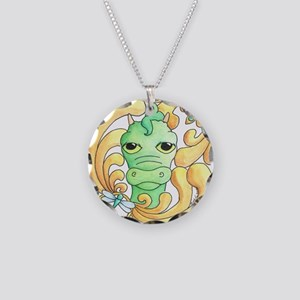 Framed Dragon Face Necklace Circle Charm