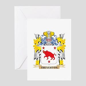 Treverton Family Crest - Coat of Ar Greeting Cards