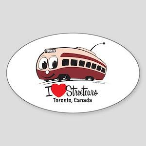 I Love Streetcars Toronto Sticker (Oval)
