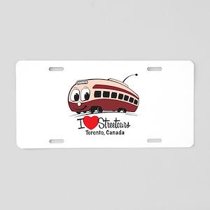 I Love Streetcars Toronto Aluminum License Plate