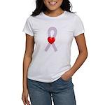 Orchid Ribbon Heart Women's T-Shirt