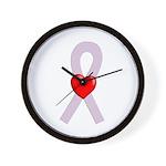 Orchid Ribbon Heart Wall Clock