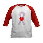 Orchid Ribbon Heart Kids Baseball Jersey