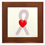 Orchid Ribbon Heart Framed Tile