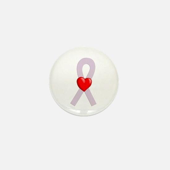 Orchid Ribbon Heart Mini Button