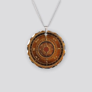 Compass Rose in Brown Necklace Circle Charm