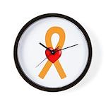 Orange Ribbon Heart Wall Clock