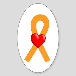 Orange Ribbon Heart Oval Sticker
