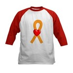 Orange Ribbon Heart Kids Baseball Jersey