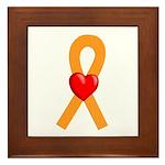 Orange Ribbon Heart Framed Tile