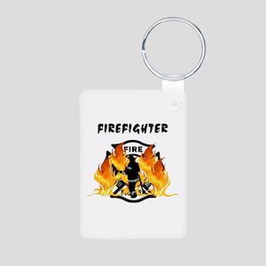 Firefighting Flames Aluminum Photo Keychain