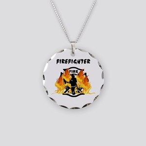 Firefighting Flames Necklace Circle Charm