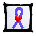 Periwinkle Ribbon Heart Throw Pillow
