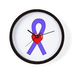 Periwinkle Ribbon Heart Wall Clock