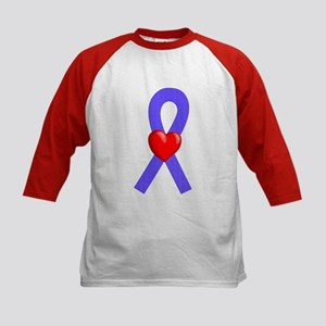 Periwinkle Ribbon Heart Kids Baseball Jersey