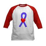 Periwinkle Ribbon Heart Kids Baseball Jersey