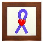 Periwinkle Ribbon Heart Framed Tile