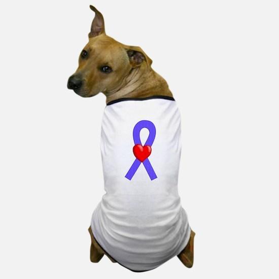 Periwinkle Ribbon Heart Dog T-Shirt