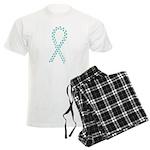 Teal pawprint ribbon Men's Light Pajamas