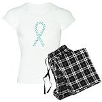 Teal pawprint ribbon Women's Light Pajamas