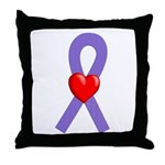 Violet Ribbon Heart Throw Pillow