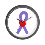 Violet Ribbon Heart Wall Clock