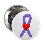 Violet Ribbon Heart Button
