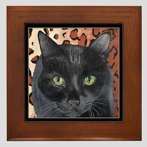 Black Cat on a Leopard Rug Framed Tile