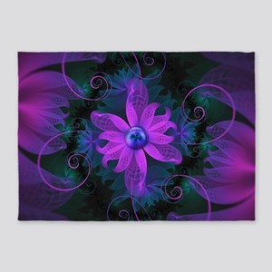 Beautiful Ultraviolet Lilac Orchid 5'x7'Area Rug