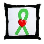Lime Ribbon Heart Throw Pillow