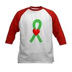 Lime Ribbon Heart Kids Baseball Jersey