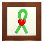 Lime Ribbon Heart Framed Tile