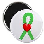 Lime Ribbon Heart Magnet