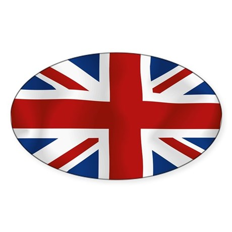 Union Jack flying flag Sticker (Oval)