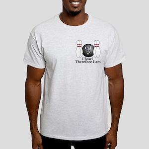 I Bowl Therefor I Am Logo 3 Light T-Shirt Design F