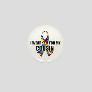 "Autism Ribbon for My Cousin - 1"" Mini Button"