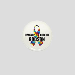 "Autism Ribbon for My Godson - 1"" Mini Button"