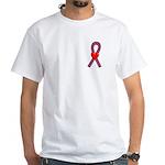 Burgundy Ribbon White T-Shirt