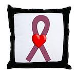 Burgundy Ribbon Throw Pillow