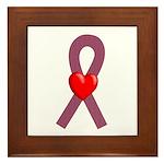 Burgundy Ribbon Framed Tile