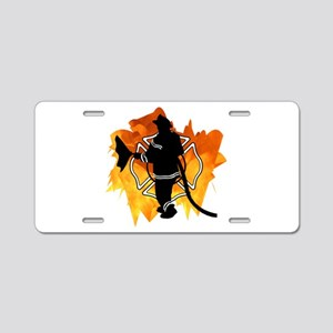 Firefighter Flames Aluminum License Plate