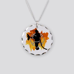 Firefighter Flames Necklace Circle Charm