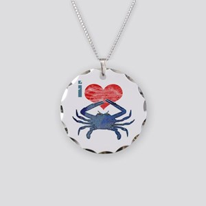 I Love Crab Necklace Circle Charm