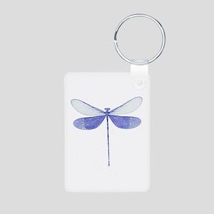 Blue Dragonfly Aluminum Photo Keychain