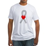 Gray Ribbon Heart Fitted T-Shirt
